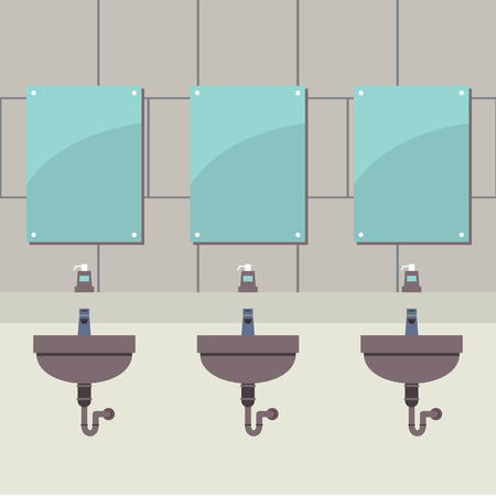 row: Row Of Lavatories With Mirrors Vector Illustration