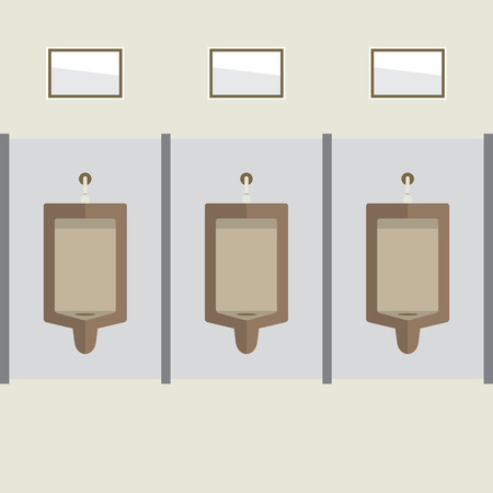 urinal: Flat Design Men Urinal Row Vector Illustration
