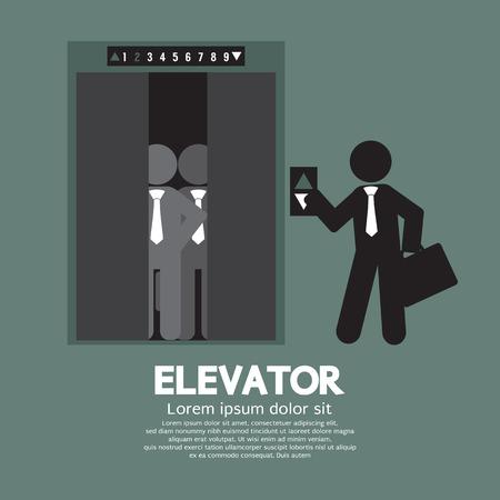 붐비는 엘리베이터 벡터 일러스트와 함께 서 사업가