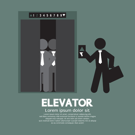 Businessman Standing With Crowded Elevator Vector Illustration Ilustração
