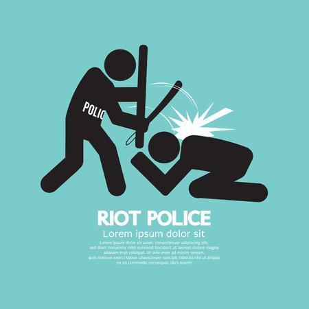 Illustrazione Polizia antisommossa nero simbolo grafico vettoriale Archivio Fotografico - 35040880