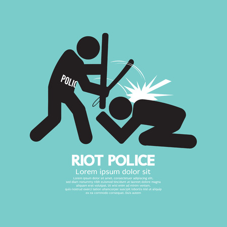 police equipment: Riot Police Black Symbol Graphic Vector Illustration