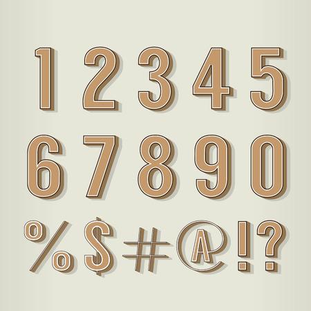 numeric: Vintage Style Numbers Set Vector Illustration