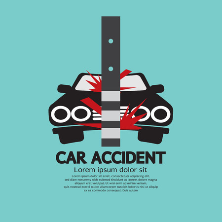 Car Accident With Pole Vector Illustration