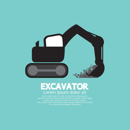 construction vehicle: Excavator Black Graphic Symbol Vector Illustration