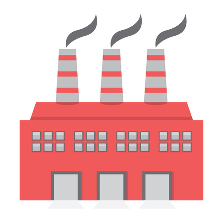 industrial buildings factory: Single Factory Building Flat Design Vector Illustration