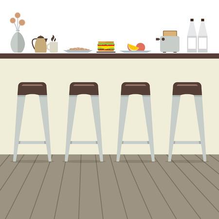 wooden stool: Modern Flat Design Kitchen Interior Vector Illustration