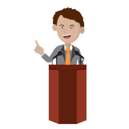 election debate: Orator Standing On Podium Vector Illustration Illustration