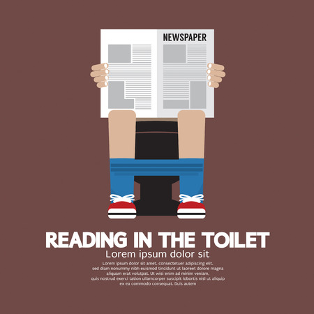 Reading in The Toilet Vector Illustration