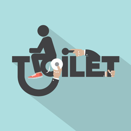 Toilet With Toilet Paper Typography Design Vector Illustration Vector