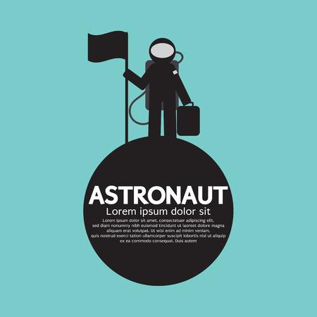 Planet: Permanente Astronauta con la bandera en la ilustración vectorial Planet