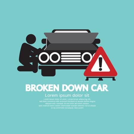 Broken Down Car Symbol Vector Illustration Vector