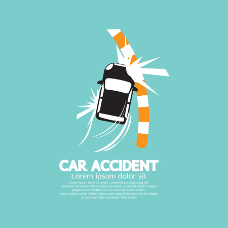 Car Accident With Footpath Vector Illustration