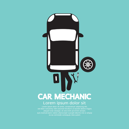 automobile industry: Car Mechanic Repairing Under Automobile Vector Illustration Illustration