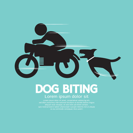 biting: Dog Biting A Man On A Motorcycle Vector Illustration