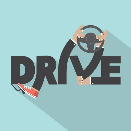Drive With Steering Wheel In Hand Typography Design Vector Illustration Illustration