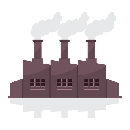 emission: Factory Building With Smoke Stacks Vector Illustration