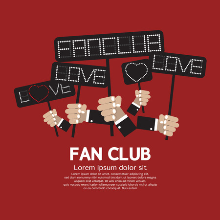 Fan Club Showing Message Board Vector Illustration