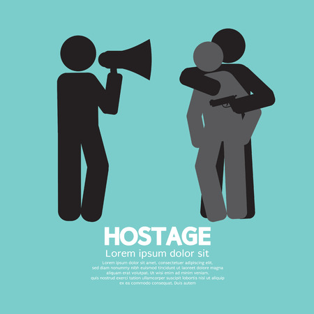 hostage: Robbery, Hostage And Policeman Graphic Symbol Vector Illustration