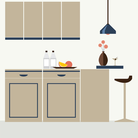 cieling: Modern Flat Design Kitchen Interior Vector Illustration