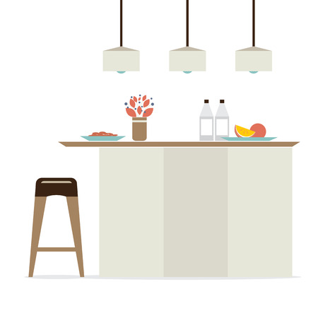 modern interieur: Modern Flat Design Keuken Interieur Vector Illustratie