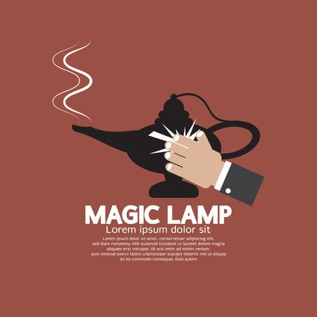 lamp vector: Hand Wiping The Magic Lamp Vector Illustration