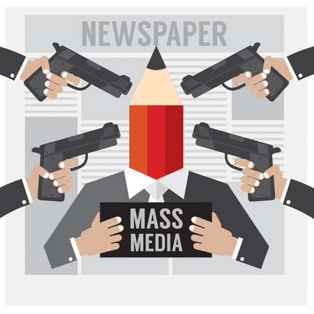 mug shot: Mass Media Is The Hostage Vector Illustration Illustration