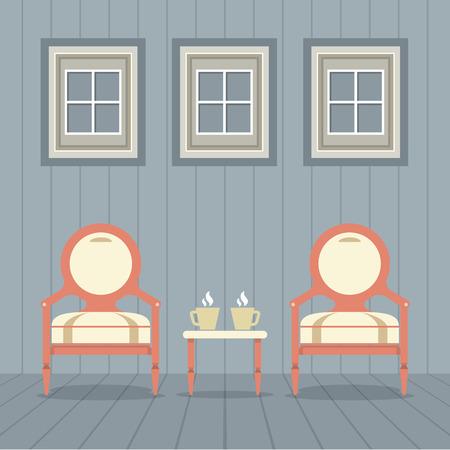hot seat: Vintage Chairs Set With Coffee Under Three Windows Vector Illustration Illustration