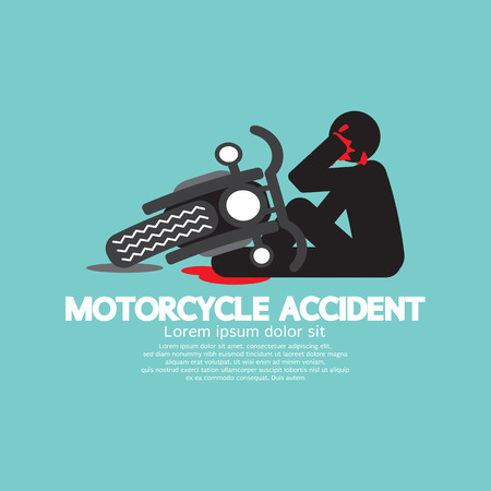 fatal: Biker With Motorcycle Have In An Accident Vector Illustration