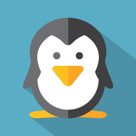 pinguino caricatura: Ilustraci�n Dise�o Modern Flat Icono del vector del ping�ino