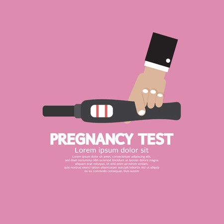 the result pregnancy test: Pregnancy Test Tool In Hand With Positive Result Vector Illustration Illustration