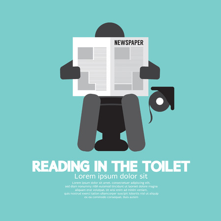 reading news: Reading in The Toilet Symbol Vector Illustration