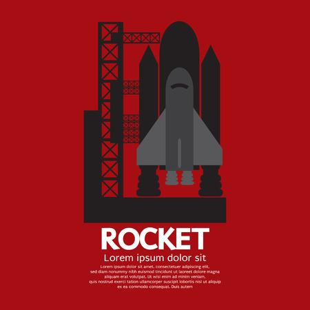 booster: Single Rocket Taking Off On A Mission Vector Illustration Illustration