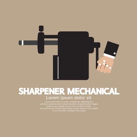 sharpening: Sharpener Mechanical With Pencil Inside Vector Illustration