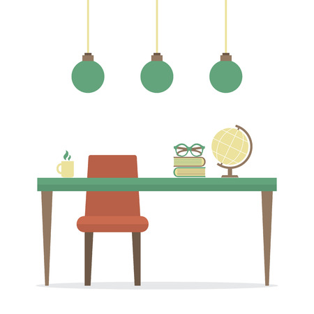 Flat Design Workplace Isolated On White Vector Illustration Vector