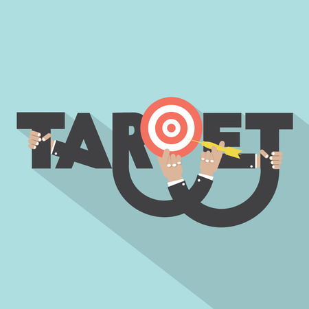 Target With Dart Arrow In Hand Typography Design Vector Illustration Illustration