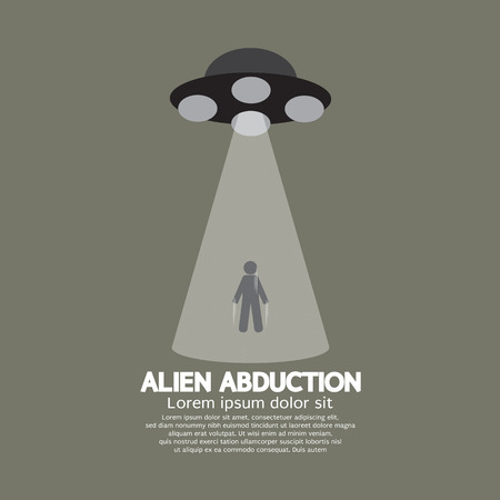 abduct: Alien Abduction With UFO Spaceship Vector Illustration