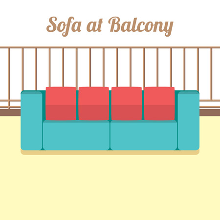 on the balcony: Colorful Empty Sofa At Balcony Vector Illustration Illustration