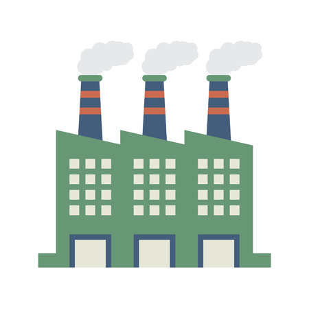 smoke stack: Factory Building With Smoke Stacks Vector Illustration