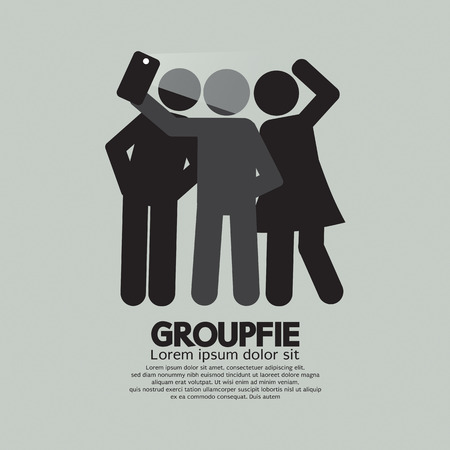 Groupfie Symbol, A Group Selfie By Phone Vector Illustration