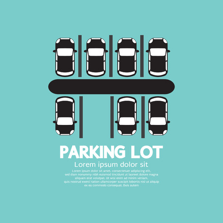 new car lot: Top View Of Parking Lot Vector Illustration