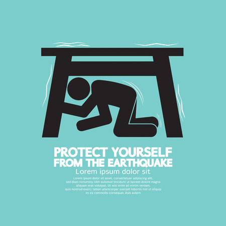 землетрясение: Защитите себя от землетрясения векторные иллюстрации