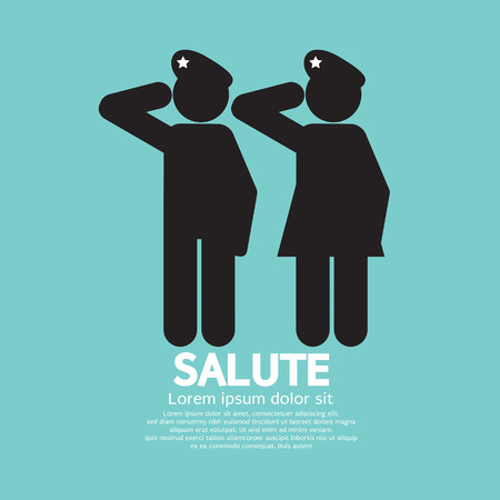 american soldier: Man And Woman Gave The Salute Gesture Vector Illustration