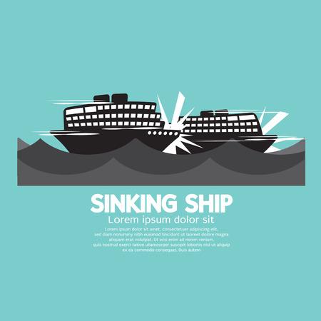 sinking: Sinking Ships Black Graphic Vector Illustration