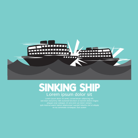 Sinking Ships Black Graphic Vector Illustration