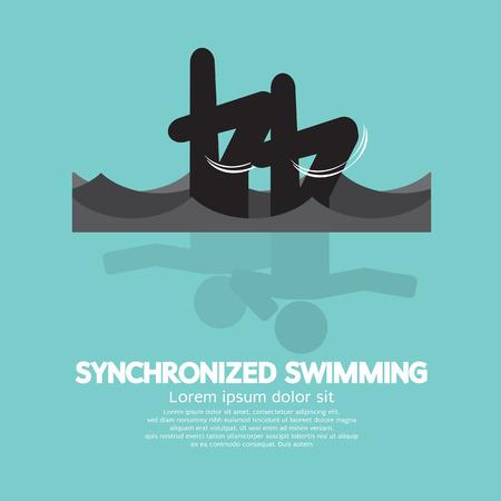 natación sincronizada: Sincronizado Natación Ilustración Gráfica Símbolo Vector