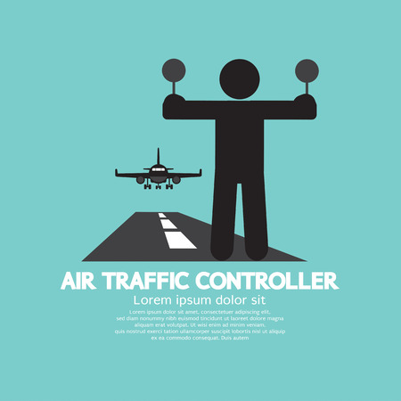 man in air: Air Traffic Controller Graphic Symbol Vector Illustration