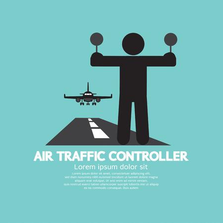 aereo: Illustrazione Controllore del Traffico Aereo Simbolo grafico vettoriale