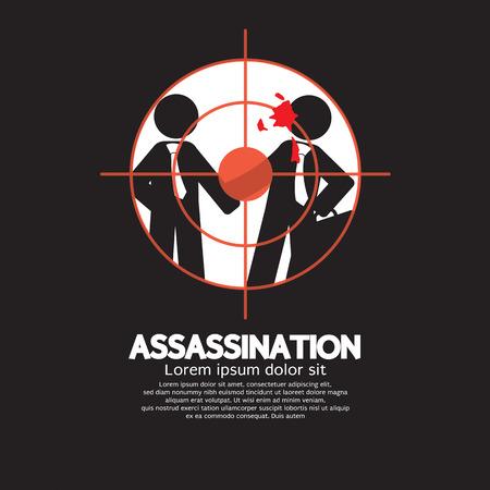 revenge: Assassination Looking Through A Sniper View Vector Illustration
