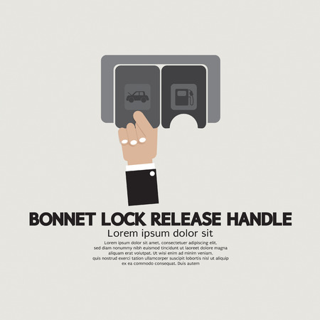 bonnet: Bonnet Lock Release Handle With Hand Vector Illustration Illustration